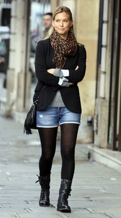 shorts with tights, jacket, scarf