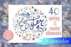 Set of watercolor Easter and Spring by Little graphic shop on Creative Market