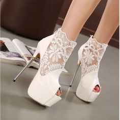 Peep Toe Lace Ankle High Heel Women Shoes