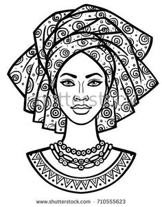 coloring pages - Animation portrait of the young African woman in a turban Monochrome linear drawing Vector illustration isolated on a white background Print, poster, tshirt, card African Drawings, African Art Paintings, Illustrator Design, Afrique Art, Creation Art, Buch Design, African Women, African Beauty, African Style