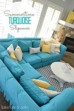 Switching Things Up For Summer With A Turquoise Slipcover HousesJelloLiving Room