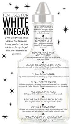 Sure, it's great with everything from French fries to salad, but did you know this inexpensive kitchen staple transcends from simple condiment to household saviour?   Here are ten ways to use white vinegar to make your home cleaner, your hair healthier and your clothing fresher.