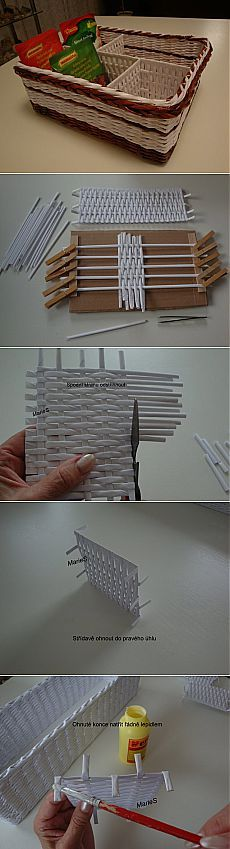 DIY How to make a box - Go to site! Paper Basket Weaving, Basket Weaving Patterns, Newspaper Basket, Newspaper Crafts, Diy Craft Projects, Fun Crafts, Diy And Crafts, Pine Needle Crafts, Basket Crafts