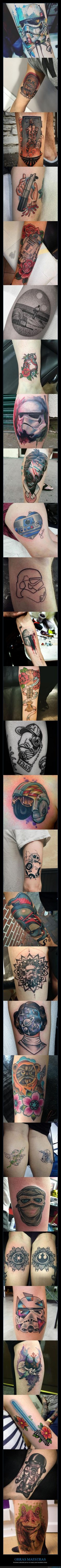 En mi segundo pin, he elegido esta imagen de tatuajes, que se han echo fanes de Star Wars. Y aunque tal vez haya gente que no lo crea, los tatuajes también se pueden considerar arte. Los tatuajes, yo al menos, los considero arte, porque estos en particular desprende más sentimiento que ningún otro tipo de obra.
