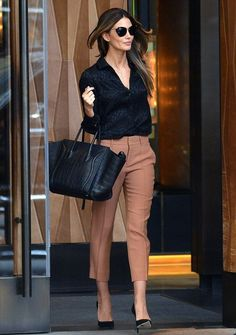 Black blouse, bag, and heels with cropped trousers - sundaylatte