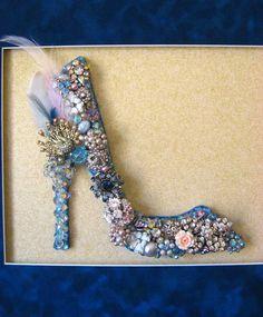 Glass Shoe Vintage Jewelry Mosaic Wall Art by ArtCreationsByCJ