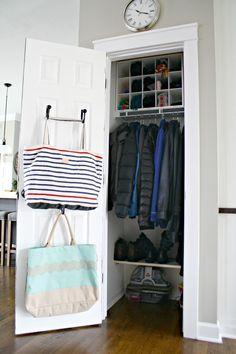 New Small Coat Closet Organization Front Halls Cubbies 51 Ideas Front Hall Closet, Entryway Closet, Closet Bedroom, Closet Doors, Closet Office, Coat Cupboard, Hall Cupboard, Cupboard Storage, Airing Cupboard