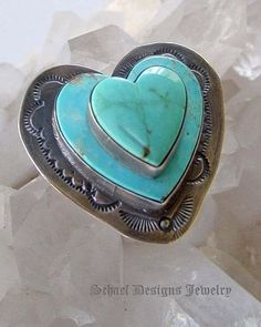 Stacked turquoise heart ring | www.schaefdesigns.com