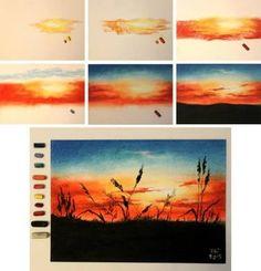نتيجة بحث الصور عن рисование пастелью поэтапно
