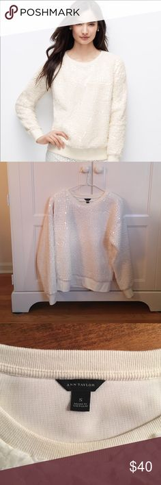 Ann Taylor crackled ice sweatshirt size small Only worn max 3 times, perfect condition. Ann Taylor Sweaters Crew & Scoop Necks