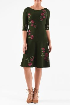 I <3 this Floral embellished cotton knit pieced dress from eShakti