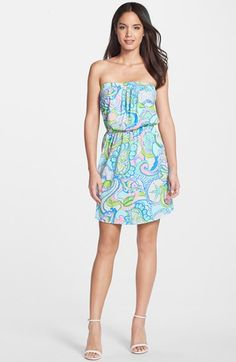 0ae148caa8d3 Lilly Pulitzer®  Windsor  Print Cotton Strapless Blouson Dress available at   Nordstrom Preppy