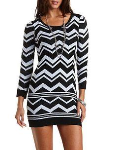 Chevron Stripe Sweater Dress: Charlotte Russe