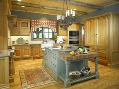 This beautiful kitchen looks similar to the kitchen an aunt and uncle have in Maine. Dream kitchen! #country #kitchen #design