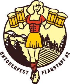 Flagstaff Oktoberfest, outdoor beer festival in Flagstaff, Arizona. Beer Cartoon, Beer Festival, Fictional Characters, Arizona, Cartoons, Thanksgiving, Autumn, Logo, Woman