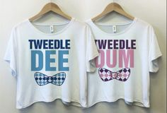 Tweedle Dee and Tweedle Dum BFF Crop Shirts - Fresh-tops.com