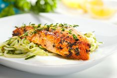 Salmon Steak Zucchini Noodles Stock Photo (Edit Now) 251697397 Body After Baby, Teriyaki Salmon, Prenatal Workout, Noodle Bowls, Zucchini Noodles, Pesto, Steak, Dishes, Chicken