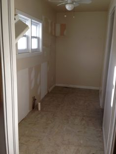 Old kitchen stage two. Out with the cabinets. Soon to be pantry and laundry!