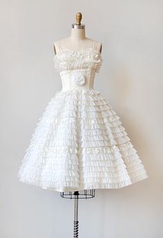 vintage wedding dress / wedding dress / vintage 1950s ruffled white wedding dress. $728.00, via Etsy.