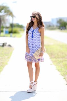 Printed Trapeze Dress Summer Style