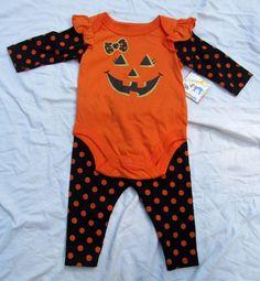 Garanimals Pumpkin Halloween Baby Girl Costume Pants Jack O Lantern Size Newborn…