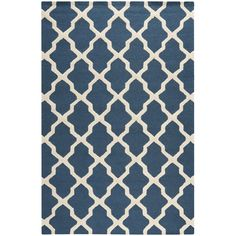 Sandra Blue Geometric Wool Hand-Tufted Area Rug