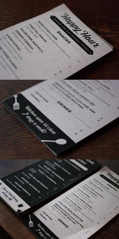 Vintage-inspired happy hour menu cards, printed on kraft paper. #menu #graphicdesign