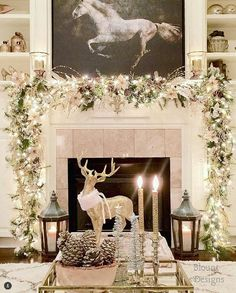49 Festive Christmas Mantel Decorating Ideas Trending Right Now Rose Gold Christmas Decorations, Modern Christmas Decor, Classy Christmas, Christmas Mantels, Farmhouse Christmas Decor, Beautiful Christmas, Christmas Home, White Christmas, Christmas Villages