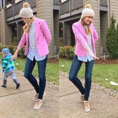 Me trying to get a 2.5-year-old in a #ootd with me  Today was the BEST. Taxes done phone upgraded lunch date with a toddler survived (and dare I say it enjoyed)!  I reused a favorite outfit today - crop top sweater over a blouse and jeans with leather sneakers and a stocking cap. I just switched from a vintage winter coat to a vintage blazer!
