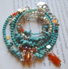 Bracelet, turquoise bracelet, carnelian bracelet, wrap bracelet, bohemian bracelet, boho chic bracelet, blue gemstone bracelet
