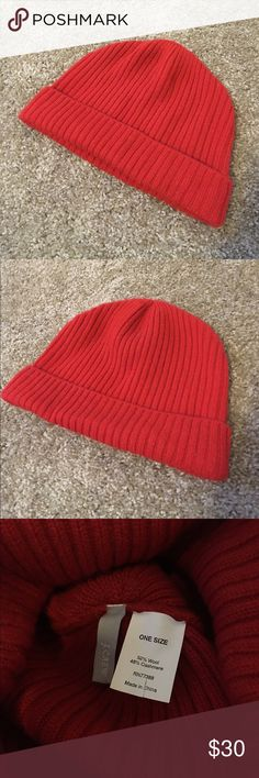 J. Crew Ribbed Winter Hat Beanie Ribbed winter hat by J. Crew.  52% wool, 48% Cashmere.  The color is closest to red I'd say but almost has a tinge of rust or orange. J. Crew Accessories Hats
