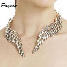 De nieuwe mode persoonlijkheid overdreven kristal engelenvleugels trui ketting luxe handgemaakte crystal veer kraag(China)