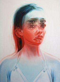 art mexicano WAKEFULNESS Dizzying Double-Exposed Portrait Paintings by Toronto-based Artist Alex Garant Glitch Art, Photomontage, Alex Garant, Spoke Art, Psy Art, Surrealism Painting, A Level Art, Portrait Art, Portrait Paintings