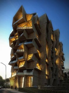 "Designs for a jumbled stack of apartments in Montenegro by Indian firm Sanjay Puri Architects was awarded the future projects residential award. The studio was inspired by the organic patterns made by rooftops in a nearby town to create the unusual shapes on the facade of Terasa 153, which will contain 9 floors of apartments above 2 commercial floors. The ""project was selected for its original connection to context, inspired by the local architectural language transposed into a new built form"""