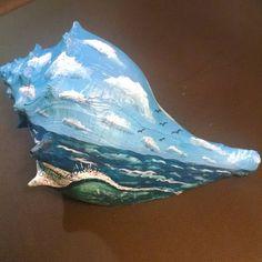 Painted Conch Shell #beach #ocean #sea #artist #paintedseashell #seashell…