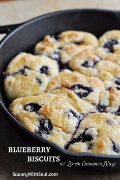 Blueberry Biscuits w/ Lemon Cinnamon Glaze - wonderful danish-like treats that are not overly sweet but enough to satisfy your sweet tooth. Great for breakfast, brunch, or midday tea. Brunch Recipes, Breakfast Recipes, Dessert Recipes, Breakfast Ideas, Breakfast Pastries, Breakfast Bake, Morning Breakfast, Brunch Ideas, Blueberry Biscuits
