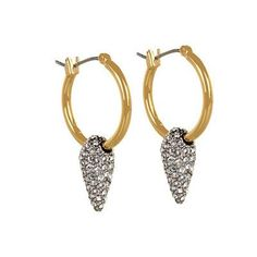 Juicy Couture Heavy Metal Pave Spike Hoop Earring - Gold (YJRU6225710)