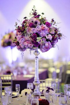 Tall purple & lavender wedding centerpiece.
