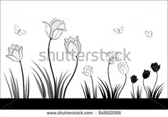 Image from http://image.shutterstock.com/display_pic_with_logo/704038/704038,1328971022,2/stock-vector-black-and-white-tulips-and-butterflies-a-small-set-of-spring-flowers-94882066.jpg.