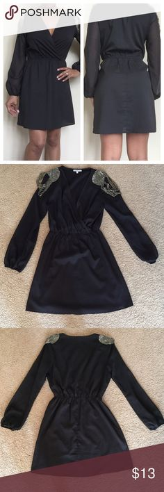**SALE** Black Dress Charlotte Russe sheer arm dress. Metallic draped beading on shoulders. Scrunched at midsection and around ends of sleeves. Perfect for fall. Charlotte Russe Dresses