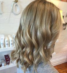 Golden blonde wavy hair