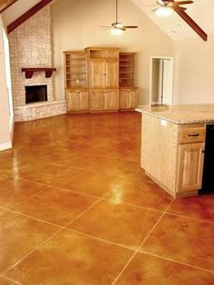 Kitchen - like the tiles Tiles, Leather Concrete Floors Stained Concrete by Peyton & Associates Montgomery, TX
