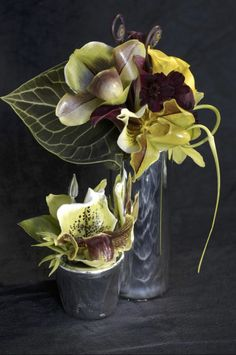 Interesting collection, callas, garlic scapes, calla, fiddleheads, lady slipper orchids, clariner leaf...