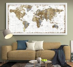 Large Wall Art Push Pin World Map World Map Wall Art Print