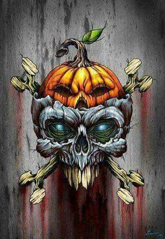 Skull for Halloween. Arte Horror, Horror Art, Skeleton Art, Desenho Tattoo, Airbrush Art, Skull Design, Halloween Skull, Fall Halloween, Happy Halloween
