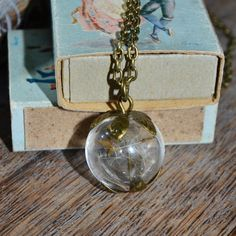 Make a Wish: Real Dandelion Seed Glass Orb / Globe pendant vintage bronze Necklace - Childhood Memories