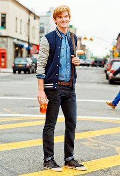 Varsity jacket, shirt, and jeans from American Eagle Outfitters