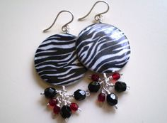 Zebra MotherofPearl & Cluster Beaded Earrings OOAK by FMBdesigns, $65.00