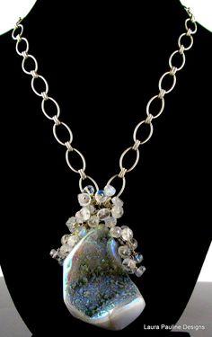 Iridescent Blue Quartz Drusy and Blue Fire Moonstone Necklace