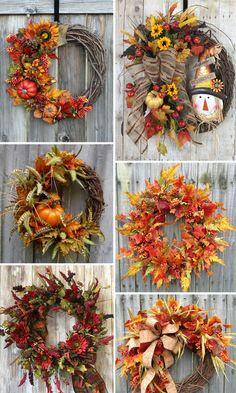 Inspirations of Wedding Wreath for Different Seasons - Pro Wedding Invites Retro Christmas Decorations, Fall Door Decorations, Decoration Table, Easy Fall Wreaths, Diy Fall Wreath, Wreath Crafts, Autumn Decorating, Fall Home Decor, Fall Crafts